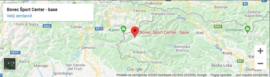zemljevid bovec sport center
